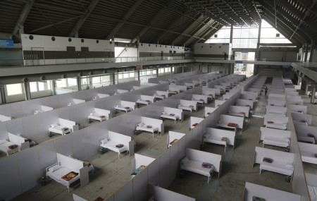 An emergency hospital is set up with nine hundreds beds for coronavirus infected patients, in the Expo Center, Lahore, Pakistan, Thursday, March 26, 2020.