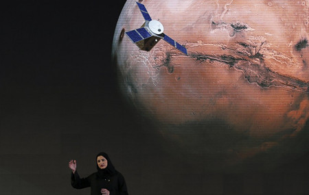 In this Wednesday, May 6, 2015 file photo, Sarah Amiri, deputy project manager of the UAE Mars mission, talks about the project named