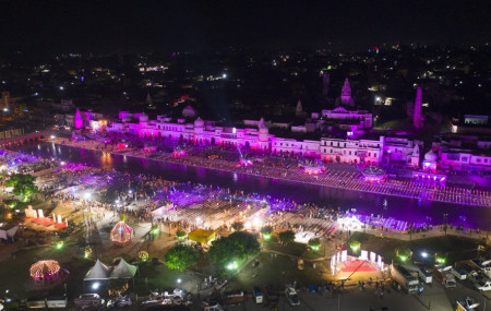 An illuminated city of Ayodhya is seen on the eve of a groundbreaking ceremony of a temple dedicated to the Hindu god Ram in Ayodhya, India, Tuesday, Aug. 4, 2020.