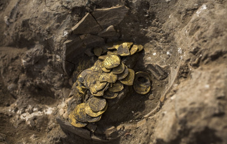 A hoard of gold coins discovered at an archeological site in central Israel, Tuesday, Aug 18, 2020.