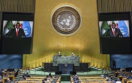 In this photo provided by the United Nations, South African President Cyril Ramaphosa speaks in a pre-recorded message played during the 75th session of the United Nations General Assembly, Tuesday, Sept. 22, 2020, at U.N. headquarters in New York.