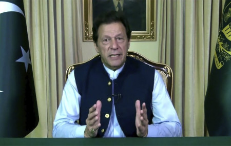 In this image made from UNTV video, Imran Khan, Prime Minister of Pakistan, speaks in a pre-recorded message which was played during the 75th session of the United Nations General Assembly, Friday, Sept. 25, 2020, at UN headquarters.