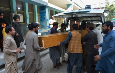 Relatives carry the coffin of a victim killed in the stampede, outside a mortuary in Jalalabad.