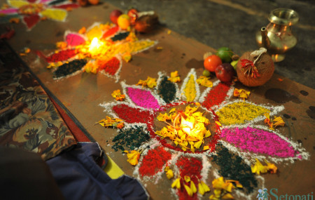 Praparations for Mha Puja celebrated on the first day of Nepal Sambat.