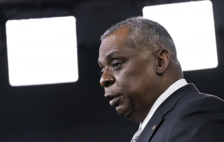 In this Friday, Feb. 19, 2021, file photo, Secretary of Defense Lloyd Austin speaks during a media briefing at the Pentagon, in Washington.