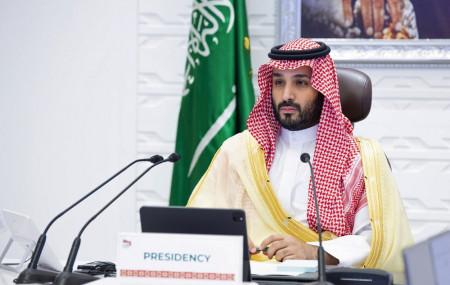 In this Sunday, Nov. 22, 2020, file photo, Saudi Arabia's Crown Prince Mohammed bin Salman attends a virtual G-20 summit held over video conferencing, in Riyadh, Saudi Arabia.