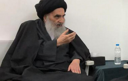 This March, 13, 2019 handout file photo from the office of Grand Ayatollah Ali al-Sistani, shows senior Shiite cleric Grand Ayatollah Ali al-Sistani in the southern Iraqi city of Najaf.