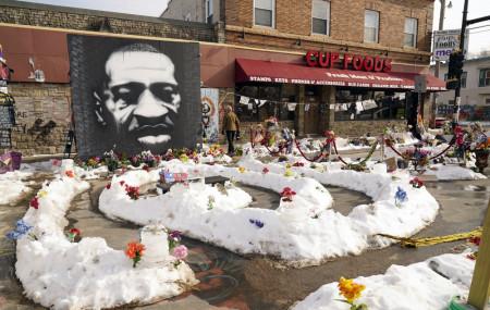 In this Feb. 8, 2021 file photo, A mural of George Floyd is seen in George Floyd Square in Minneapolis.