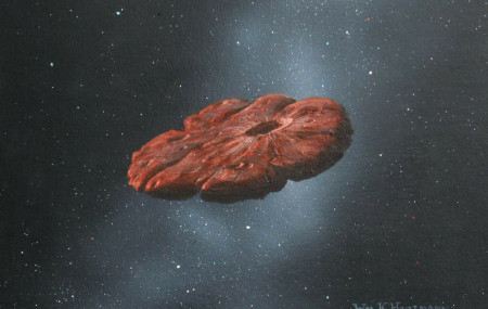 This 2018 illustration provided by William Hartmann and Michael Belton shows a depiction of the Oumuamua interstellar object as a pancake-shaped disk.