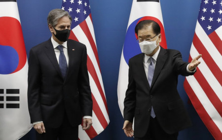 U.S. Secretary of State Antony Blinken, left, meets South Korean Foreign Minister Chung Eui-yong prior to the Foreign and Defense Ministerial Meeting between South Korea and U.S. at the Foreign Ministry in Seoul, South Korea, Thursday.