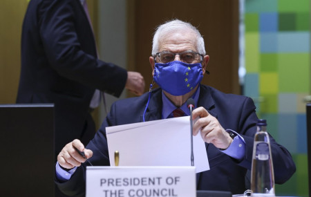 European Union foreign policy chief Josep Borrell arrives for a European Foreign Affairs Ministers meeting at the European Council headquarters in Brussels, Monday, March 22, 2021.