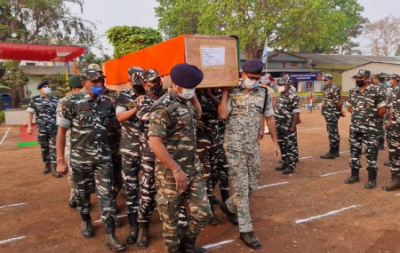 Mortal remains of a jawan of CRPF's CoBRA battalion who lost his life in an encounter with Naxals in Sukma Saturday brought to Jagdalpur. Photo Courtesy: ANI