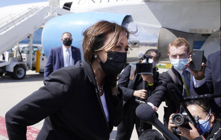 Vice President Kamala Harris speaks to the media on India, prior to boarding Air Force Two, Friday, April 30, 2021, at Cincinnati/Northern Kentucky International Airport, in Hebron, on return to Washington.