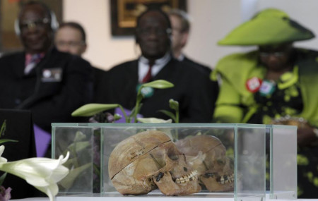 In this Thursday, Sept. 29, 2011 file photo skulls of Ovaherero and Nama people are displayed during a devotion attended by representatives of the tribes from Namibia in Berlin, Germany.