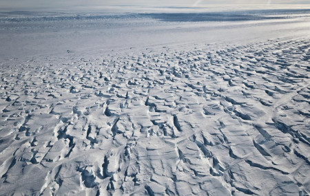 This January 2010 photo provided by Ian Joughin shows the area near the grounding line of the Pine Island Glacier along its west side in Antarctica.