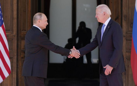 US President Joe Biden and Russian President Vladimir Putin, arrive to meet at the 'Villa la Grange', Wednesday, June 16, 2021, in Geneva, Switzerland.