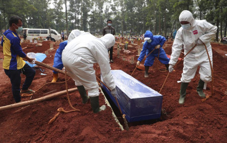 Workers in protective gear lower a coffin of a COVID-19 victim to a grave for burial at the Cipenjo Cemetery in Bogor, West Java, Indonesia, Wednesday, July 14, 2021.