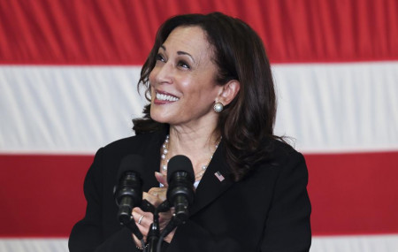 U.S. Vice President Kamala Harris speaks to troops as she visits the USS Tulsa in Singapore, Monday, Aug. 23, 2021.