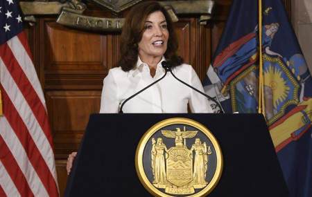 New York Gov. Kathy Hochul speaks to reporters after a ceremonial swearing-in ceremony at the state Capitol, Tuesday, Aug. 24, 2021, in Albany, New York.