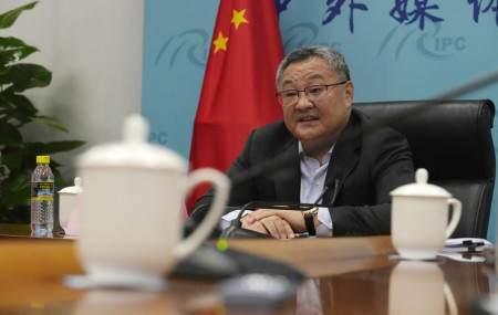 Fu Cong, a Foreign Ministry director general, speaks at a briefing for foreign journalists at the Foreign Ministry in Beijing, China, Wednesday, Aug. 25, 2021.