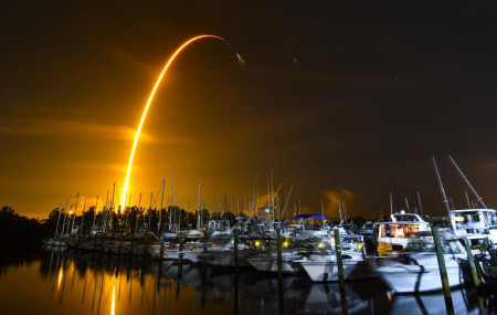 This long exposure photo shows the launch of a SpaceX Falcon 9 rocket on a resupply mission for NASA to the International Space Station from Pad 39A at Kennedy Space Center, seen from Merritt Island, Florida, Sunday, Aug. 29, 2021.