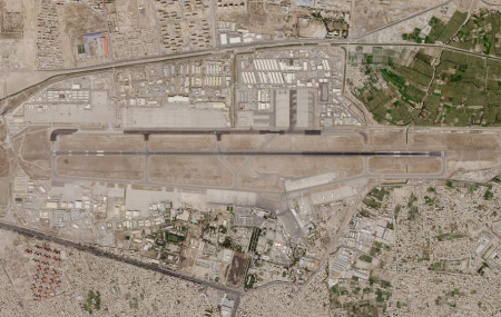 In this satellite photo taken by Planet Labs Inc., Kabul's international airport is seen Saturday, Aug. 28, 2021.