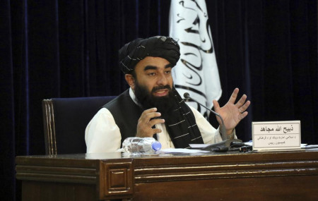Taliban spokesman Zabihullah Mujahid speaks during a press conference in Kabul, Afghanistan Tuesday, Sept. 7, 2021.