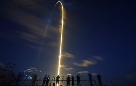A SpaceX Falcon 9 rocket, with four private citizens onboard, lifts off in this time-exposure photo from Kennedy Space Center's Launch Pad 39-A, Wednesday, Sept. 15, 2021, in Cape Canaveral, Florida.