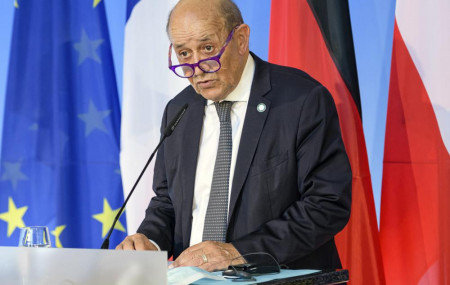 In this Friday, Sept. 10, 2021 file photo, French Foreign Minister Jean-Yves Le Drian speaks in Weimar, Germany.