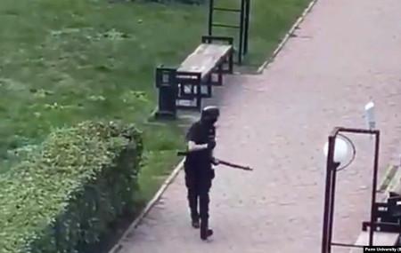 A photo of the gunman taken by a student at the entrance to Perm University. Photo Courtesy: Radio Free Europe Radio Liberty