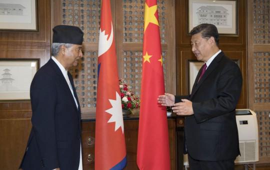 NC President Sher Bahadur Deuba (L) with Chinese President Xi Jinping. Photo: Xinhua