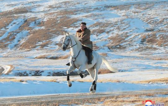 In this undated photo provided on Wednesday, Oct. 16, 2019, by the North Korean government, North Korean leader Kim Jong Un rides a white horse to climb Mount Paektu, North Korea.