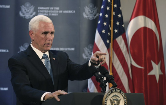 U.S. Vice President Mike Pence speaks at the U.S. ambassador's residence during a news conference in Ankara, Turkey, Thursday, Oct. 17, 2019.