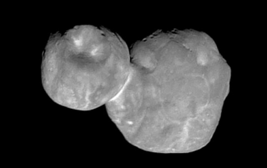 This Tuesday, Jan. 1, 2019 image made available by NASA shows the Kuiper belt object originally called