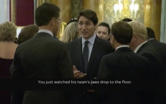 In this grab taken from video on Tuesday, Dec. 3, 2019, Canada's Prime Minister Justin Trudeau gossips about US President Donald Trump with other leaders.