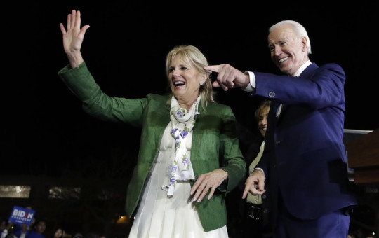 Democratic presidential candidate former Vice President Joe Biden, right, and his wife Jill attend a primary election night rally Tuesday, March 3, 2020, in Los Angeles.