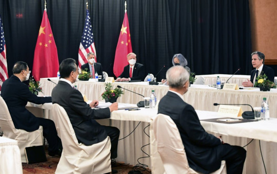 Secretary of State Antony Blinken, far right, speaks as Chinese Communist Party foreign affairs chief Yang Jiechi, left, and China's State Councilor Wang Yi, second from left, listen at the opening session of US-China talks in Anchorage, Alaska.