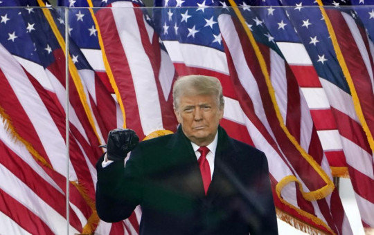 In this Jan. 6, 2021, file photo, US President Donald Trump arrives to speak at a rally in Washington. Former President Trump will find out whether he gets to return to Facebook on Wednesday, May 5, 2021.