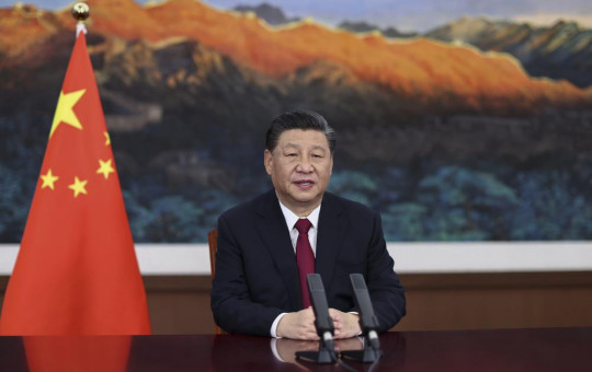 In this April 20, 2021 file photo released by Xinhua News Agency, Chinese President Xi Jinping delivers a keynote speech via video for the opening ceremony of the Boao Forum for Asia (BFA) Annual Conference, in Beijing.