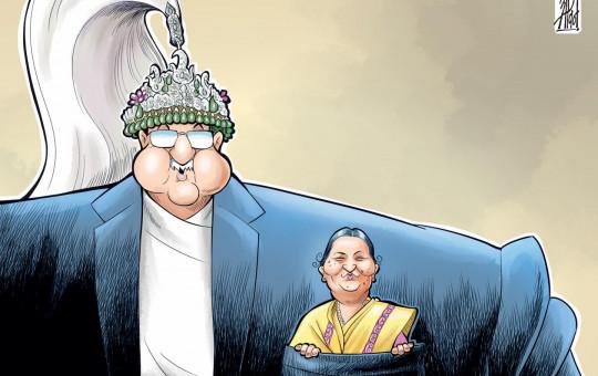 Abin Shrestha's cartoon published in Kantipur.