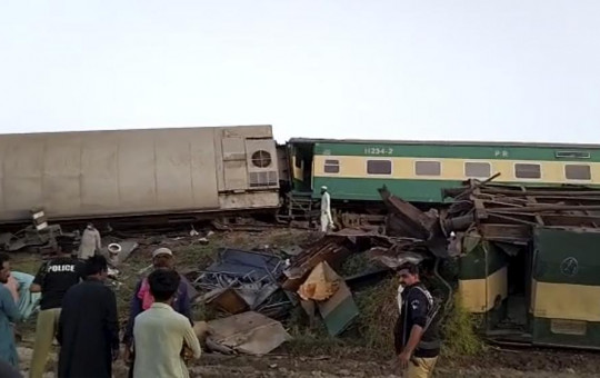 This image from a video, shows trains after a collision in Ghotki, Pakistan Monday, June 7, 2021.
