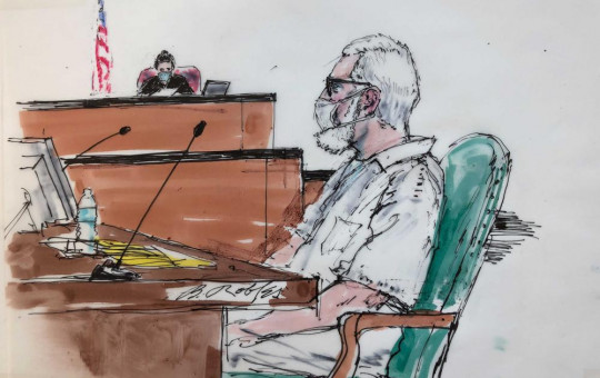 In this courtroom artist sketch Tahawwur Rana, appears during an extradition hearing in federal US court in Los Angeles, Thursday, June 24, 2021.