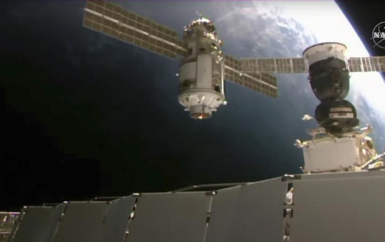 This Thursday, July 29, 2021 image provided by NASA shows the 20-metric-ton (22-ton) Nauka module, also called the Multipurpose Laboratory Module as it approaches the International Space Station space station.
