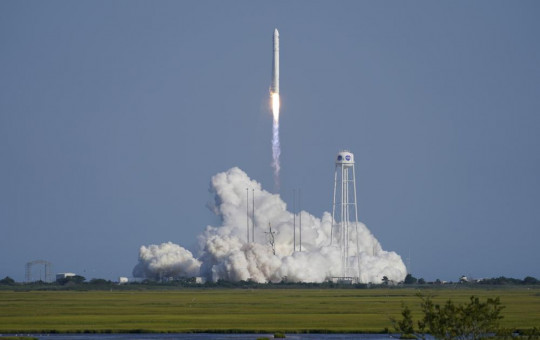 Northrop Grumman's Antares rocket lifts off the launch pad at the NASA Test Flight Facility, Tuesday, Aug. 10, 2021, in Wallops Island, Va. The rocket carries a Cygnus space vessel that will deliver supplies to the International Space Station.