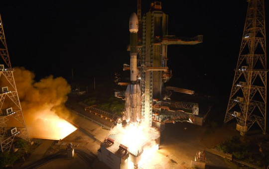 This photograph released by the Indian Space Research Organization (ISRO) shows Geosynchronous Satellite Launch Vehicle (GSLV-F10) carrying EOS-03, an Earth Observation satellite, taking off from Satish Dhawan Space Center in Sriharikota, India, Thursday.