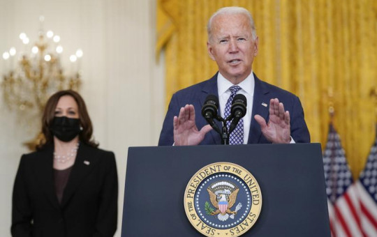 US President Joe Biden speaks about the evacuation of American citizens, their families, SIV applicants and vulnerable Afghans in the East Room of the White House, Friday, Aug. 20, 2021, in Washington.