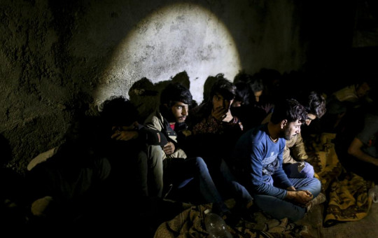 Turkish security forces apprehend a group of migrants in an operation aimed at stemming the recent influx of migration, mainly coming from Afghanistan and stopping human trafficking operations in the area at the border province of Van, Turkey.