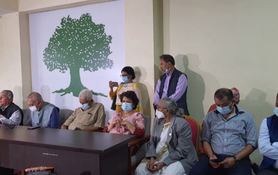 NC leaders in the press conference organized by Paudel faction.