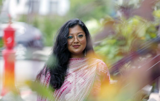 Shahana Hanif, a community organizer strongly favored to win a seat on the New York City Council in the upcoming municipal election, stands in front of her home in the Kensington neighborhood of the Brooklyn borough of New York.