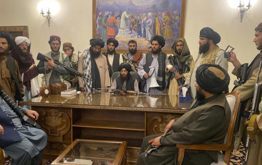 In this Aug. 15, 2021 file photo, Taliban fighters take control of Afghan presidential palace in Kabul, Afghanistan, after President Ashraf Ghani fled the country.